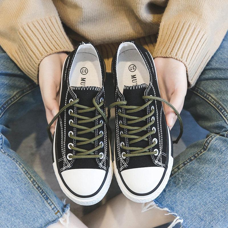 帆布女鞋韩版夏款单鞋学生百搭布鞋2019夏季新款潮鞋平底小鞋  35 女款