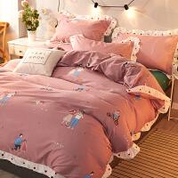 全棉纯棉四件套少女心公主风被套床笠床单宿舍床上三件套件 2.0m床单四件套 被套 220*240床单24
