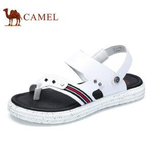camel骆驼男鞋  夏季新品 凉鞋沙滩牛皮拖鞋男士透气露趾凉鞋男