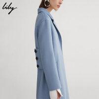 【25折到手价:439.75元】 Lily春秋新款女装灰蓝长款直筒羊毛大衣毛呢外套118420F1123