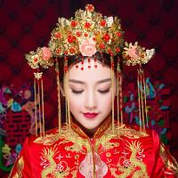 中式婚礼新娘头饰古装头饰新娘秀禾服发饰凤冠霞帔皇冠龙凤挂头饰