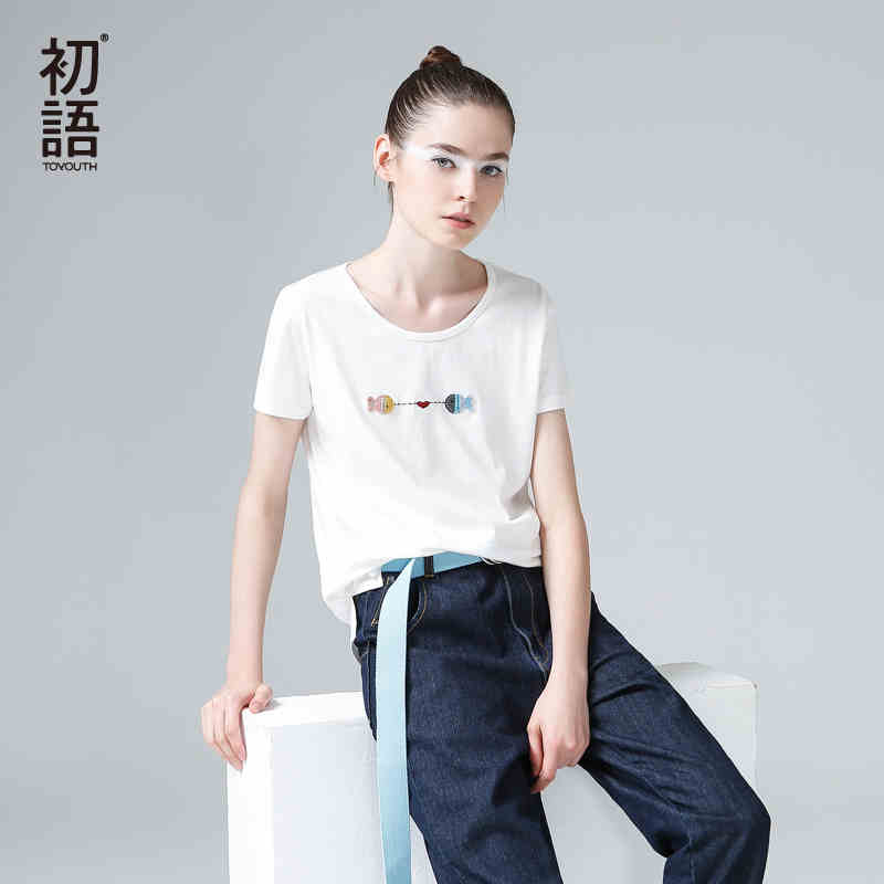 【品牌盛典 2件5折】初语2018装夏装新款女宽松白色纯棉短袖T恤刺绣大码休闲女装上衣