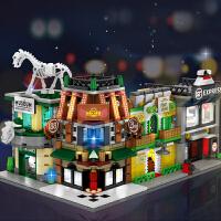 【灯光街景 益智拼插】森宝积木迷你街景系列LED灯光效果兼容乐高玩具