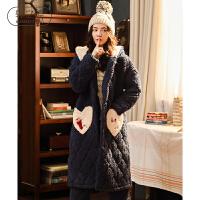轩之婷 棉睡衣女冬季加厚可外穿三层夹棉长款睡袍两件套珊瑚绒家居服套装