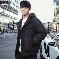羽绒服男短款加厚冬季2018新款连帽青年帅气学生韩版潮流男士外套 188-97黑色 M