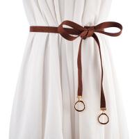 新品韩版女士双圆扣细腰带 甜美打结腰链百搭装饰皮带配裙子腰带