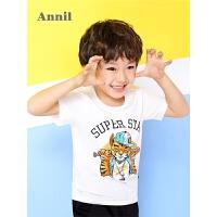 【爆款直降 满200-20】安奈儿童装男童短袖T恤春夏新款圆领动物图短袖上装EB821212