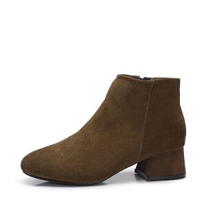 camel骆驼女鞋 2017秋冬新款 优雅百搭绒面方头短筒靴子 简约中跟短靴