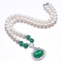 淡水珍珠项链配绿玛瑙吊坠强光亮泽送妈妈长辈母亲节礼物