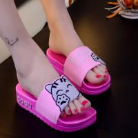 新款夏一字厚底女士凉拖鞋橡胶一字拖坡跟高跟中跟潮猫凉拖鞋