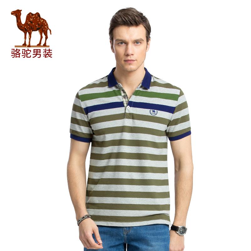 骆驼男装 夏季新款微弹修身翻领条纹POLO衫男青年短袖T恤衫