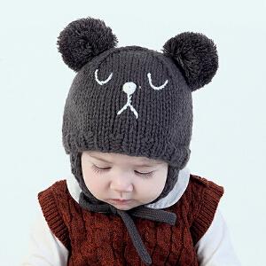 【支持礼品卡】Yinbeler儿童帽手工可爱小熊系带防寒保暖婴儿毛线帽
