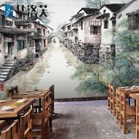 华洛芙 中式水墨画江南水乡贴画手绘中国风餐厅火锅饭店背景墙贴墙贴壁画 中