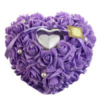 婚礼创意婚庆戒枕盒心形戒托手工珍珠玫瑰花结婚戒盒戒指盒