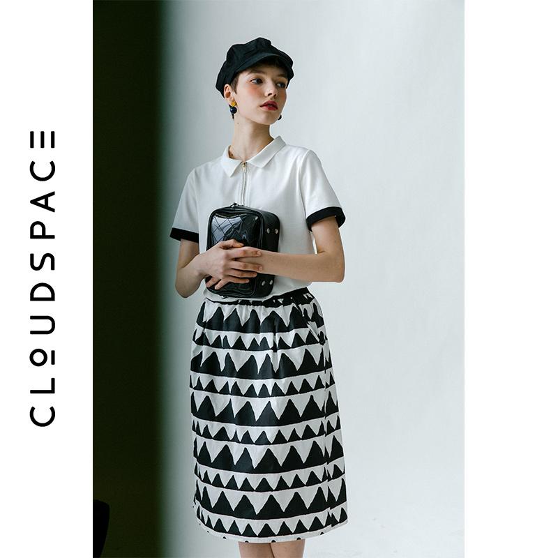 云上生活女装2019夏新款米白色撞色拼接polo衫女短袖t恤女T2798