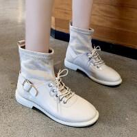 靴子女2019秋款韩版粗跟低跟英伦复古马丁靴女时尚短靴女春秋单靴