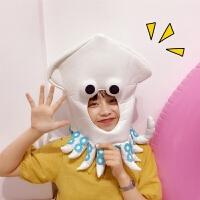 韩国少女网红抖音创意帽子头套女ins派对卡通章鱼头套拍摄道具潮 大章鱼头套 可调节