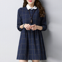 原��2018春�b新款女�b修身�@瘦格子�L袖�B衣裙中�L款休�e�����b棉裙子GH062