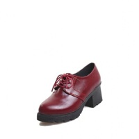 小皮鞋女英伦风女鞋百搭春秋季舒适新款韩版学生系带中跟粗跟单鞋 酒红色 普通面料