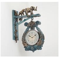 两面挂钟 天蓝欧式双面挂钟客厅创意静音两面钟表现代复古美式时尚家用时钟竖琴 14英寸