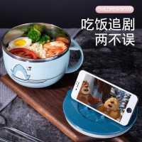 304不锈钢泡面碗 带盖学生寝室大号日式可爱餐具套装宿舍方便面碗