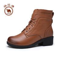 骆驼牌 女靴 冬季时尚休闲马丁靴系带保暖皮靴子女