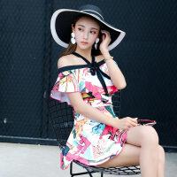 性感泳衣女士大码连体裙式一字肩可爱泡温泉韩国显瘦遮肚聚拢泳装 红色小提琴