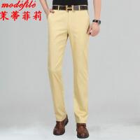 茉蒂菲莉 中老年男装 男士棉薄款春季新款男式服装修身爸爸纯色中腰浅色直筒休闲长裤子