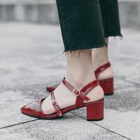 凉鞋女仙女风2019新款百搭高跟晚晚鞋女罗马包头绑带粗跟尖头单鞋 酒红色 跟高5CM