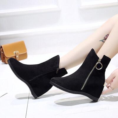 2019秋冬新款高跟坡跟内增高韩版女鞋短靴百搭女靴子英伦马丁靴潮 黑色
