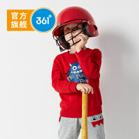 【1件半价到手价:69.5】361度童装男童卫衣2020新品休闲套头上衣长袖卫衣 活力红 炭黑