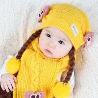 韩版宝宝帽子秋冬季6-12个月 婴儿毛线帽1-2岁女童假发辫子公主帽