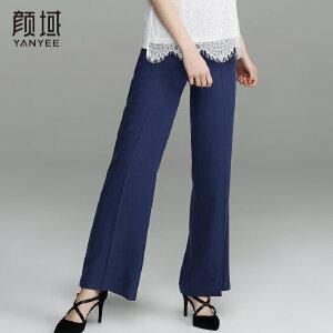 颜域品牌女装2018春夏新款职业西装裤显瘦直筒长裤优雅垂感休闲裤