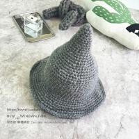 韩版休闲光身纯色加厚毛线帽子情侣秋冬尖尖针织帽男女巫渔夫盆帽 可调节