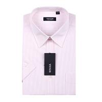 Youngor/雅戈尔男士商务白底粉条涤棉免烫短袖衬衫 SV6956