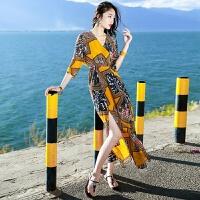 沙滩裙海边度假裙风海滩裙夏季雪纺女装连衣裙 图片色 XZ17C795