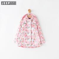 JEEP童装 女童冲锋衣外套可脱卸内胆三合一两件套户外防风秋新款