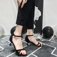 凉鞋女高跟细跟2019夏新款少女拼色性感露趾中跟小清新一字扣女鞋夏季百搭鞋