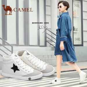 骆驼牌 女鞋 新品时尚帆布鞋休闲鞋女学生韩版高帮帆布鞋潮