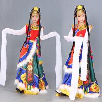 藏族舞蹈演出服儿童藏族水袖藏服蒙古民族表演服装女 图片色