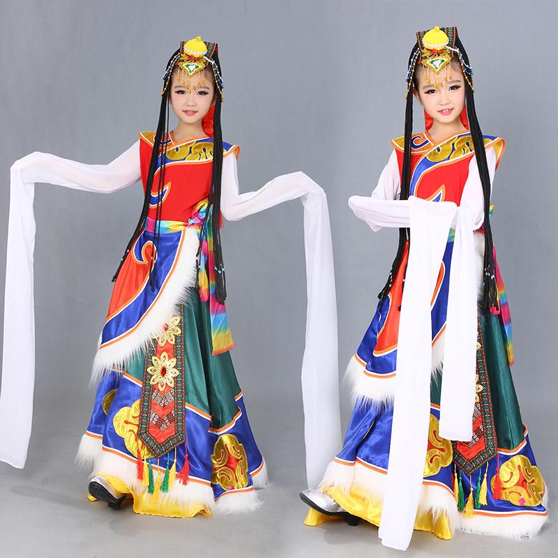 藏族舞蹈演出服儿童藏族水袖藏服蒙古民族表演服装女 图片色 发货周期:一般在付款后2-90天左右发货,具体发货时间请以与客服协商的时间为准