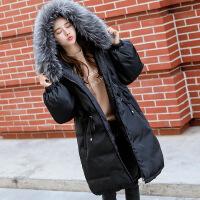 黛熊 孕妇棉衣冬季韩版孕妇装中长款羽绒潮妈大毛领棉袄B-17008