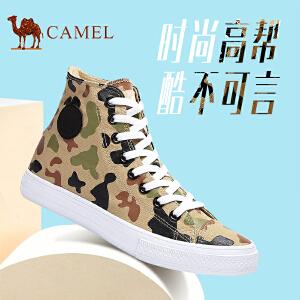 骆驼牌 男鞋 帆布鞋高帮韩版平跟鞋子休闲潮鞋时尚舒适