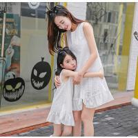 背心裙亲子装裙子新款潮韩版母女装夏装连衣裙木耳边刺绣无袖可礼品卡支付