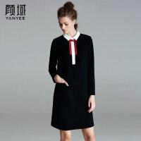 颜域品牌女装2018春夏新款女士蝴蝶结娃娃领修身A字裙长袖连衣裙