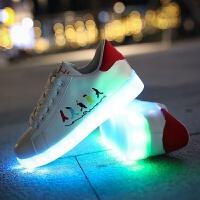 会发光的鞋子有灯鞋男亮灯带灯充电学生鬼步舞夜荧光鞋女情侣灯鞋 红色