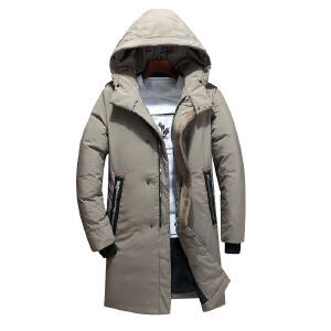 2019新款男装羽绒服冬季长款连帽羽绒外套中长款加厚宽松学生青年大码外套