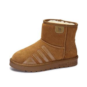 camel/骆驼女鞋 2017冬季新款 简约百搭中帮雪地靴舒适保暖平底短筒女靴