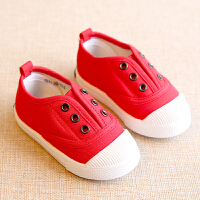 春秋婴儿板鞋儿童帆布鞋男童女童球鞋宝宝学步鞋子小童软底休闲鞋1-3岁2一脚蹬单鞋子幼儿园室内小白鞋