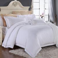 【人气】媲美水 星 酒店床上用品四件套全棉60支贡缎纯棉被套简约双人1.8m床品 伊莎贝拉/白色四件套